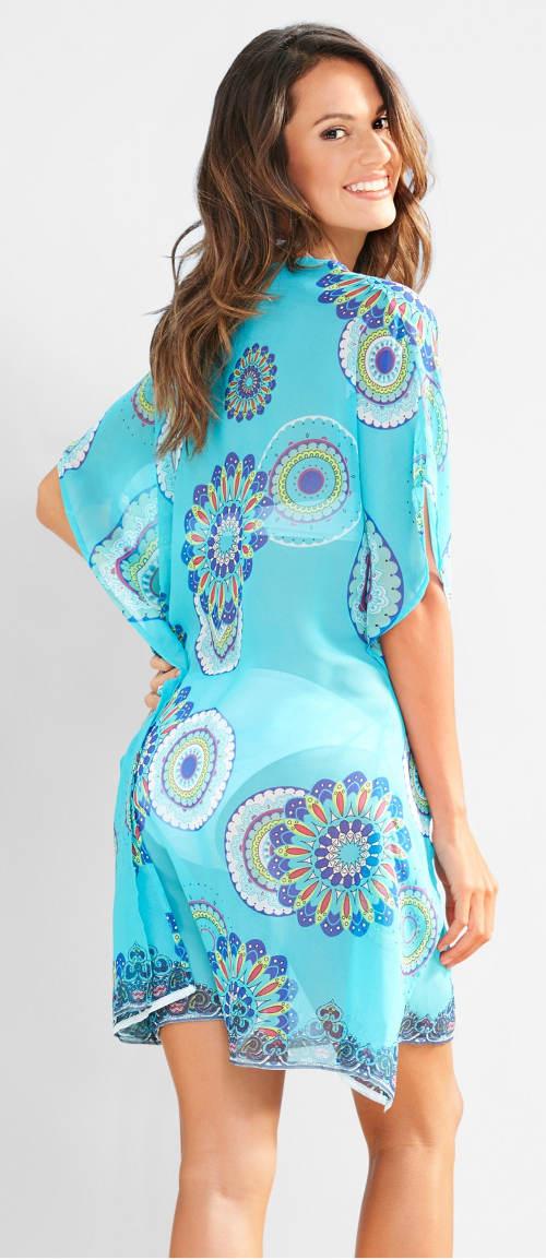 Modré mandala plážové šaty