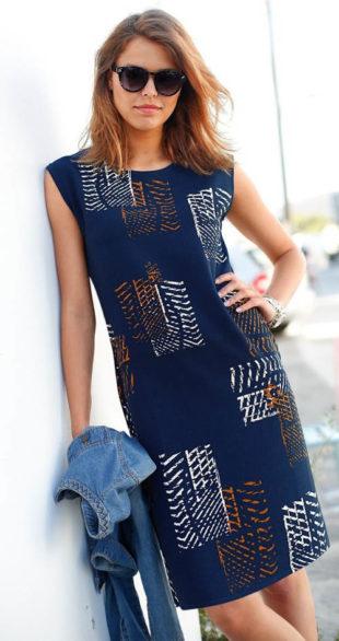 Rovné dámské šaty s grafickým vzorem