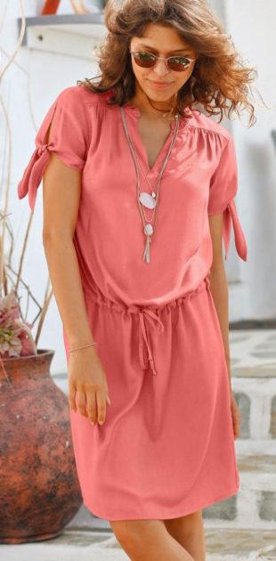 Růžové letní šaty se stažením v pase