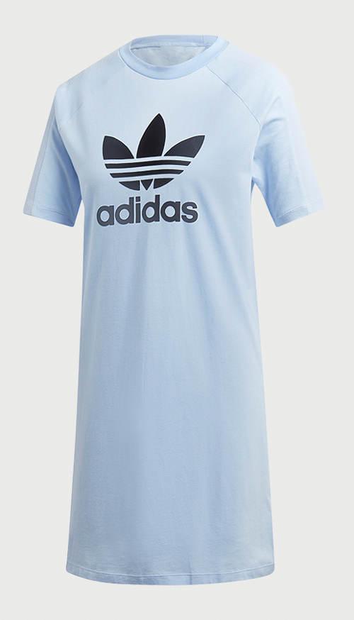 Světle modré šaty adidas s krátkým rukávem