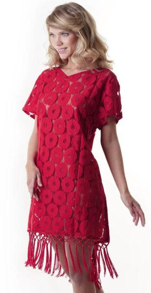 Italské plážové šaty červená průsvitná krajka