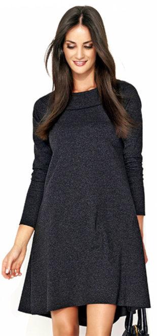 Volné asymetrické šaty s dlouhými rukávy