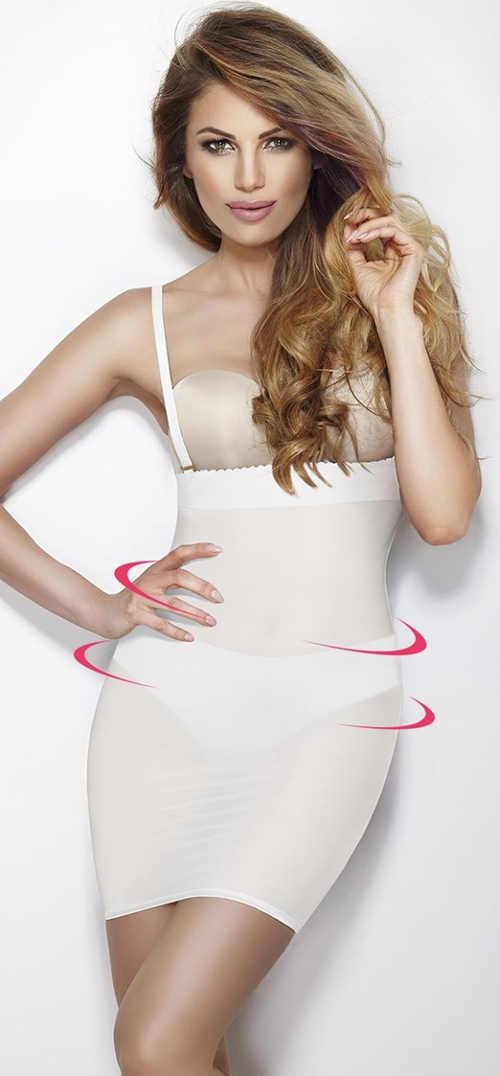 Bílé neviditelné šaty stahující bříško, boky a zadek