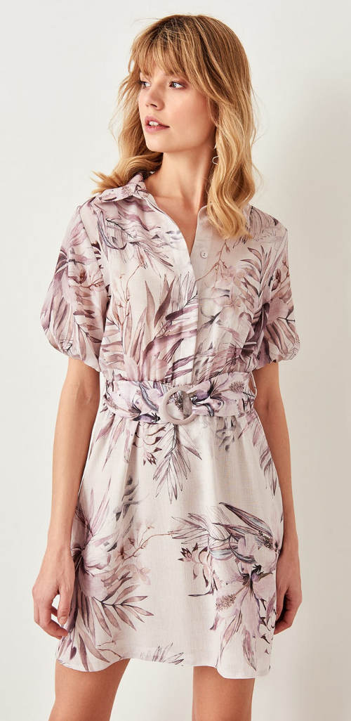 Béžové květinové šaty s opaskem