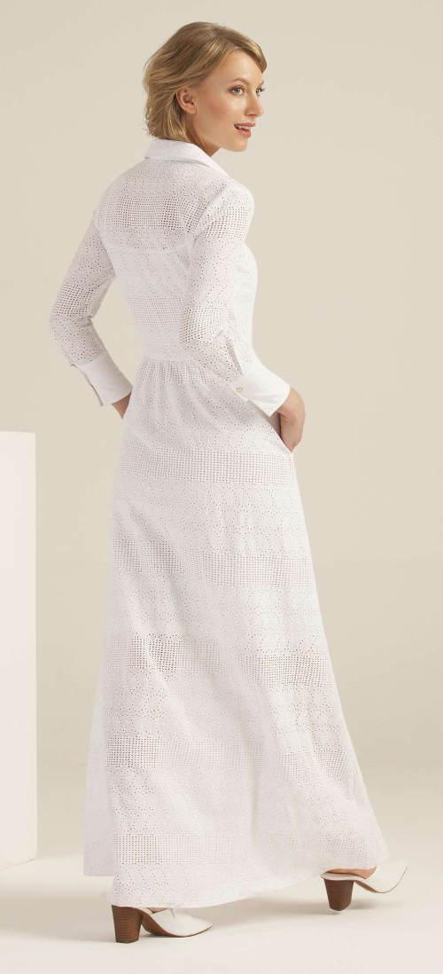 Bílé madeira šaty s dlouhými rukávy