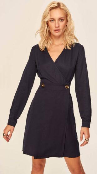 Černé zavinovací šaty s dlouhými rukávy
