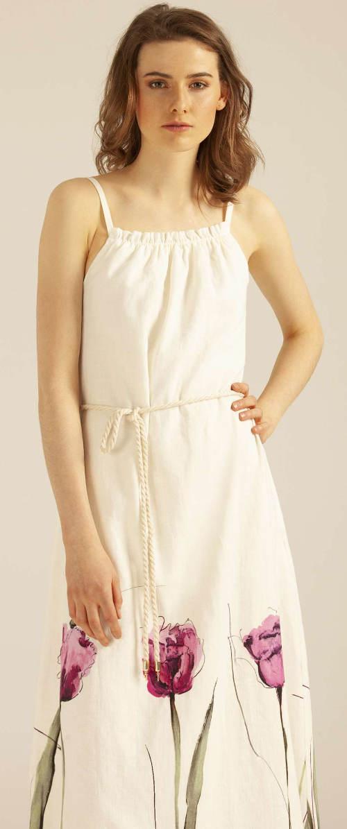 Dlouhé lněné dámské šaty