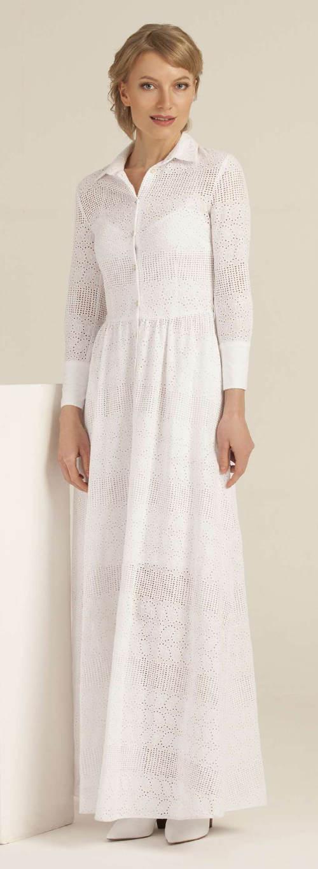 Dlouhé bílé košilové šaty s límečkem