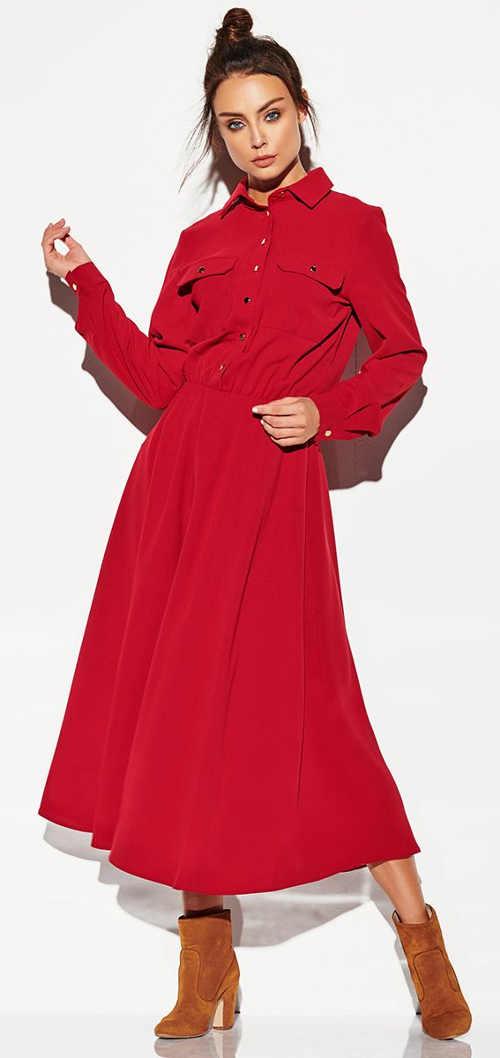 Dlouhé červené maxi šaty s límečkem