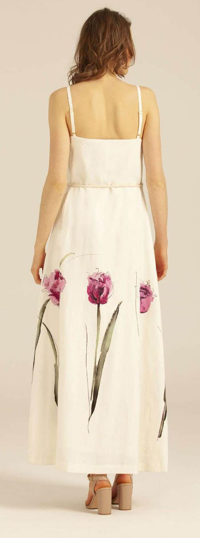 Dlouhé šaty s potiskem tulipánů