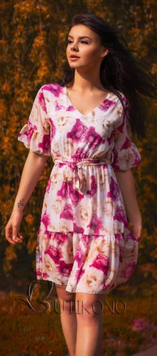 Fialové letní květinové šaty