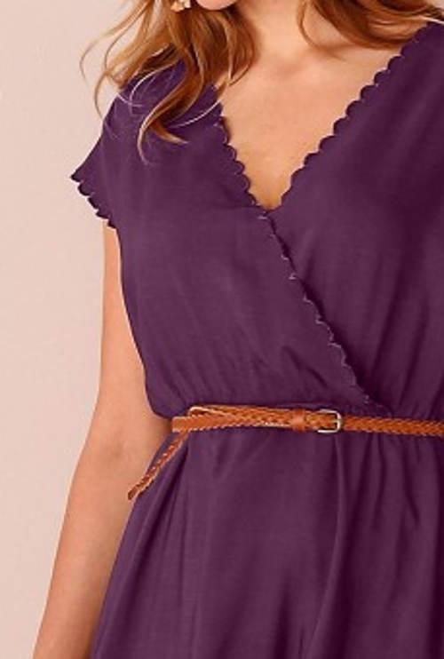 Fialové zavinovací šaty na léto