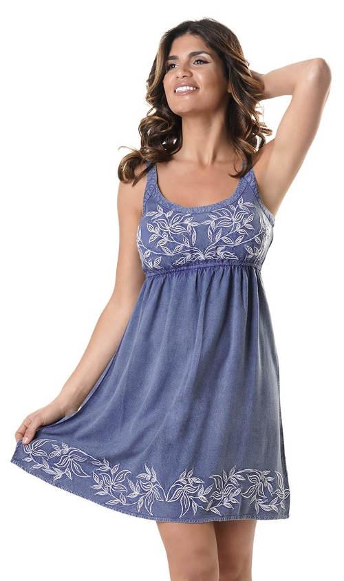 Italské džínové letní šaty s květinovou výšivkou