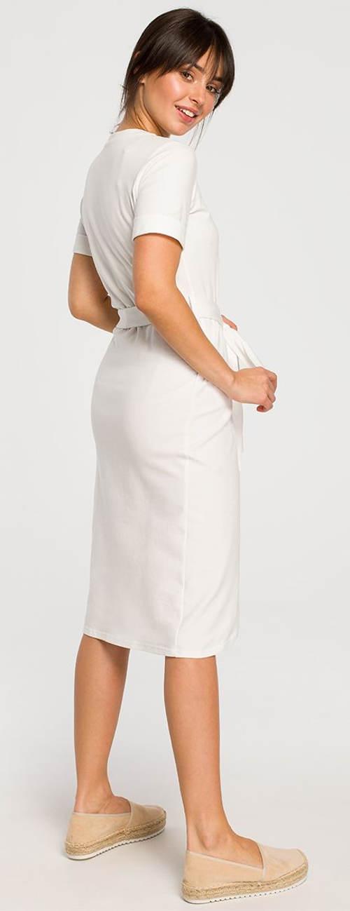 Jednobarevné bílé sportovní šaty s krátkým rukávem