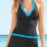 Koupací šaty s ramínkem kolem krku