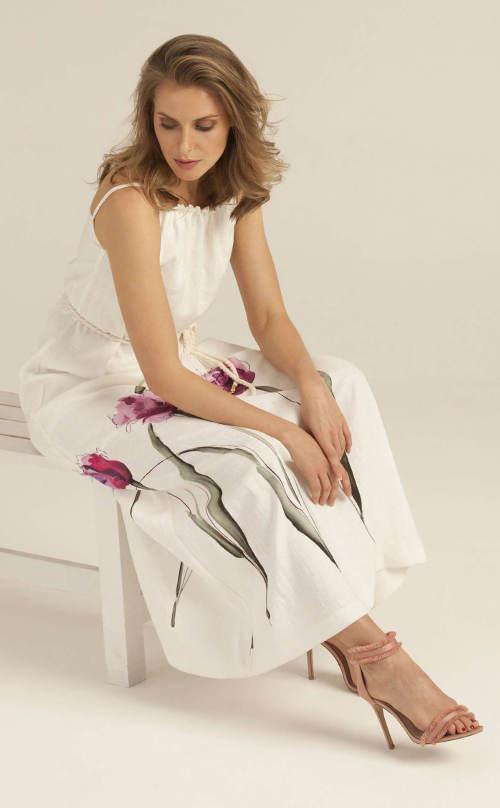Lehké lněné šaty s květinovým potiskem