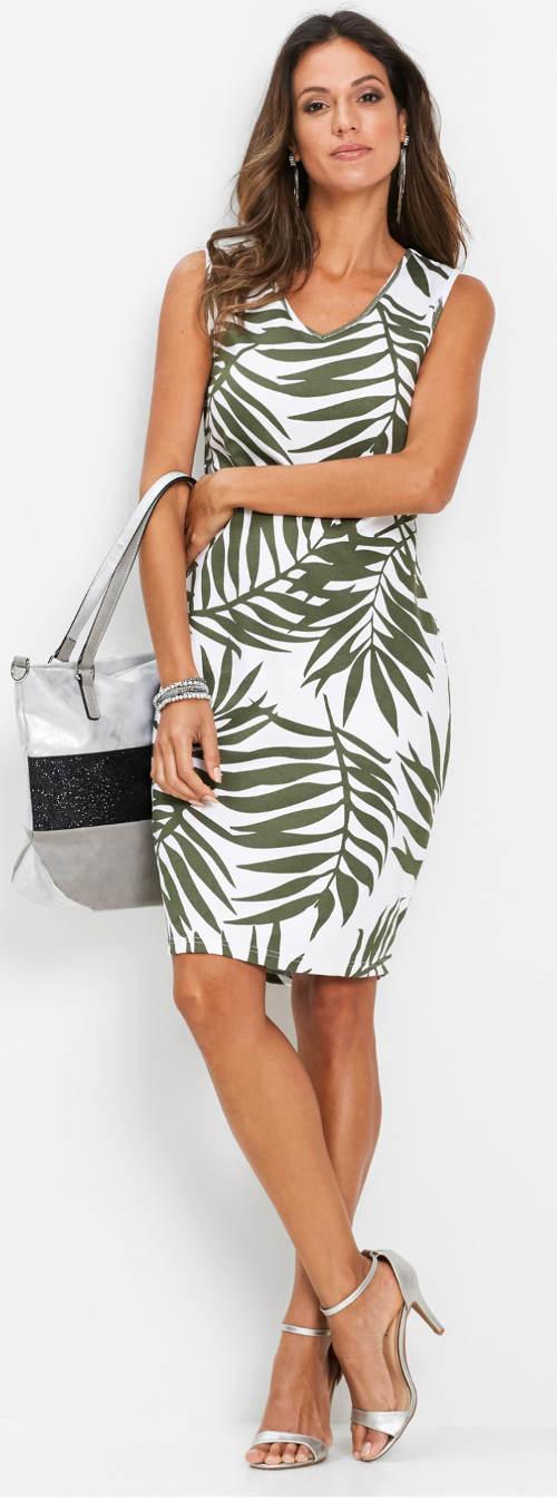 Letní olivovo-bílé šaty pro starší