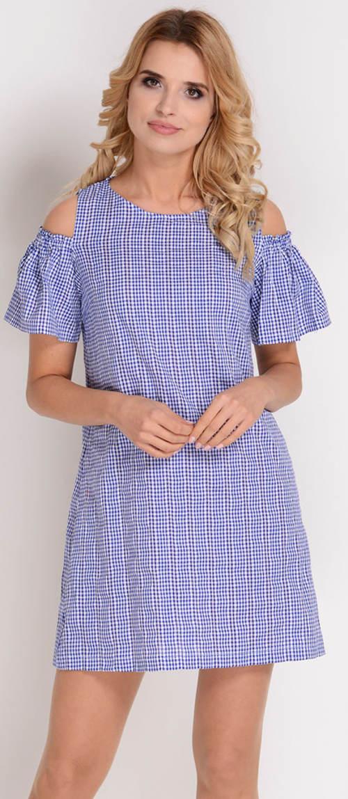 Modré kostičkované šaty na léto