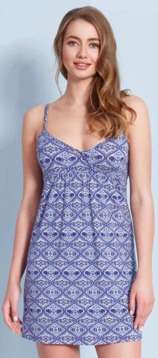 Modré letní šaty na tenká ramínka s etno potiskem