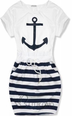 Námořnické šaty s kotvou na dovolenou k moři