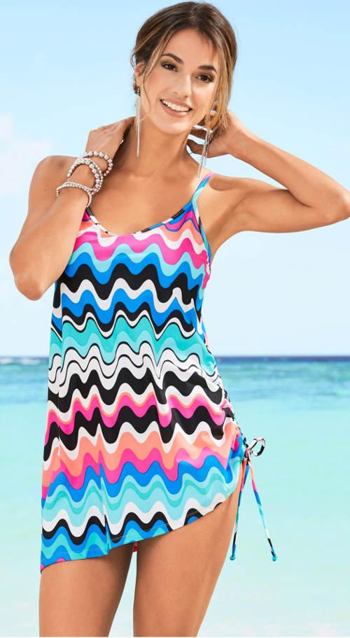 Plavkové šaty se zeštíhlujícím vzorem