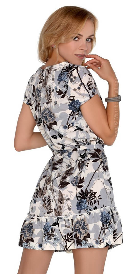 Šedé letní společenské květované šaty