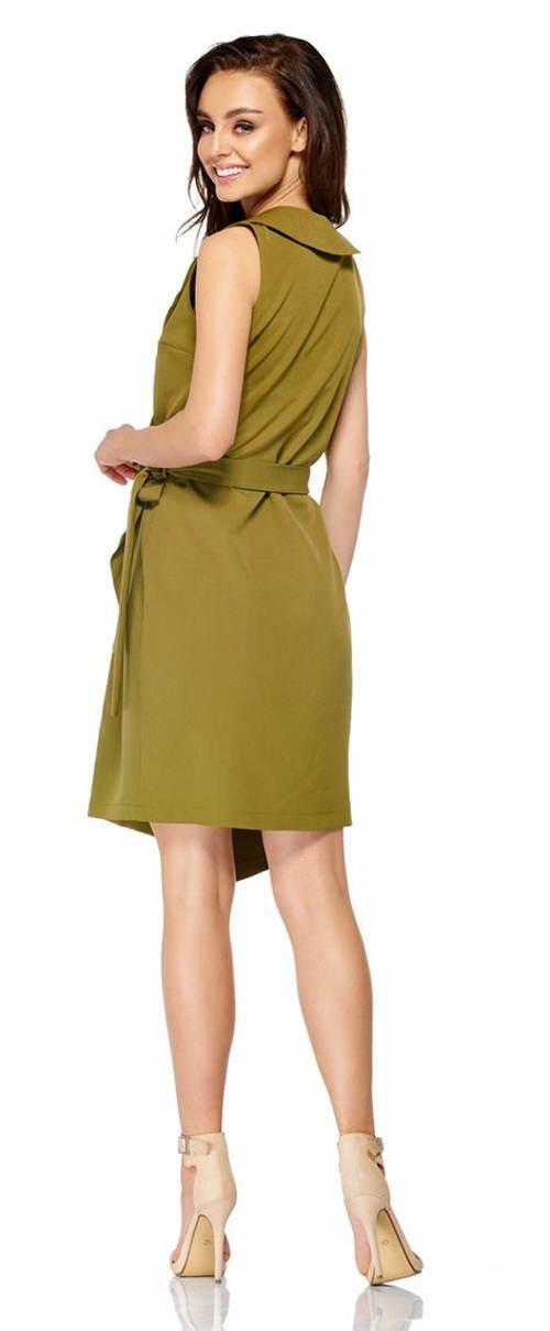 Společenské khaki šaty s límečkem