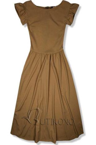 Tmavě hnědé midi šaty s prostřižením v pase