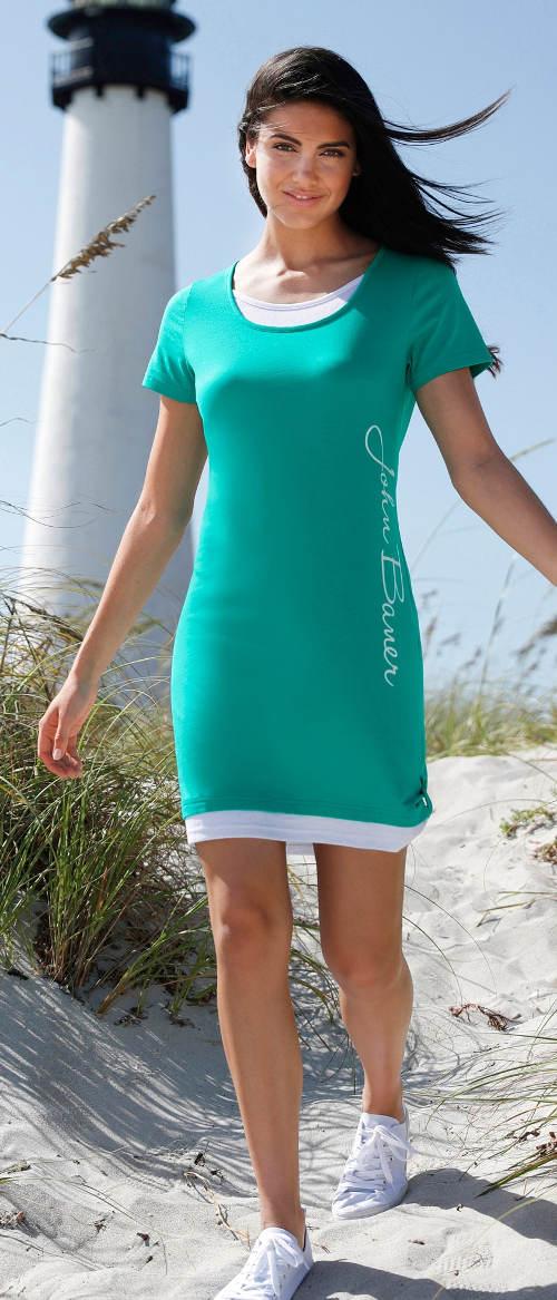Zelené dámskmé šaty k moři