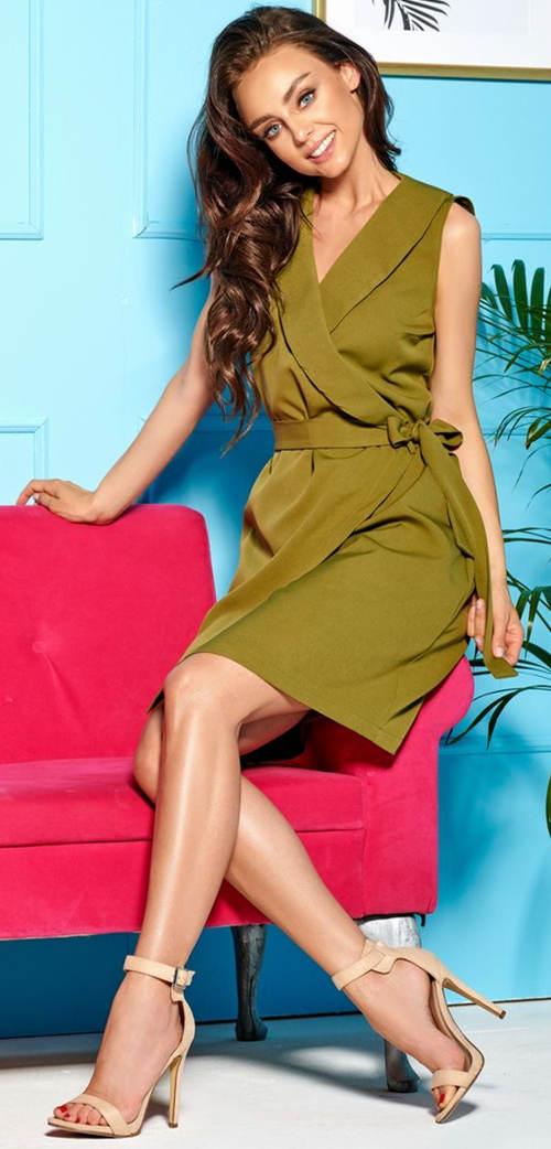 Zelené zavinovací šaty s páskem na mašličku
