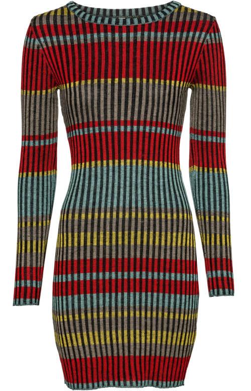 Barevné pletené šaty na zimu
