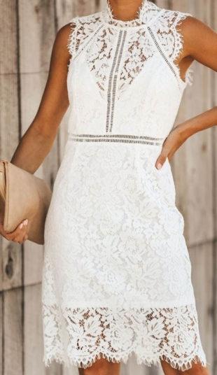 Bílé celokrajkové šaty s podšívkou