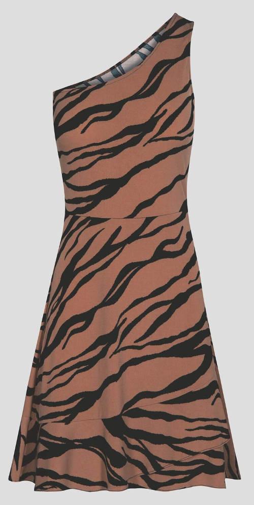 Béžové dámské šaty se zebrováním