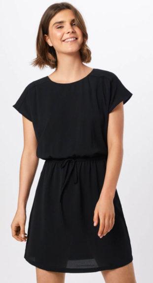 Černé letní šaty se stahovací šňůrkou v pase