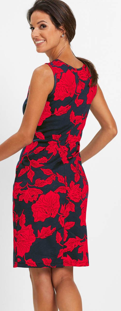Černo-jahodové květované šaty
