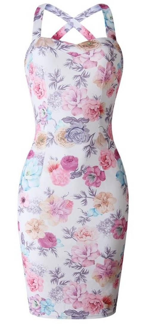 Letní květované šaty s překříženými ramínky na zádech