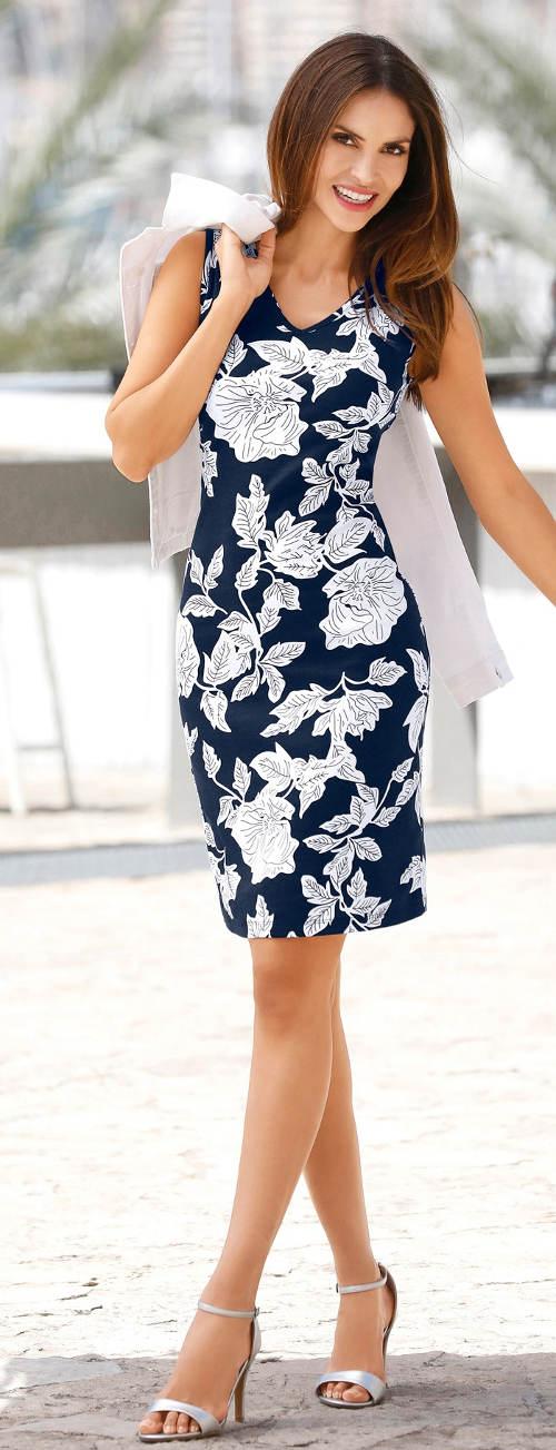 Modro-bílé dámské šaty s květinovým vzorem