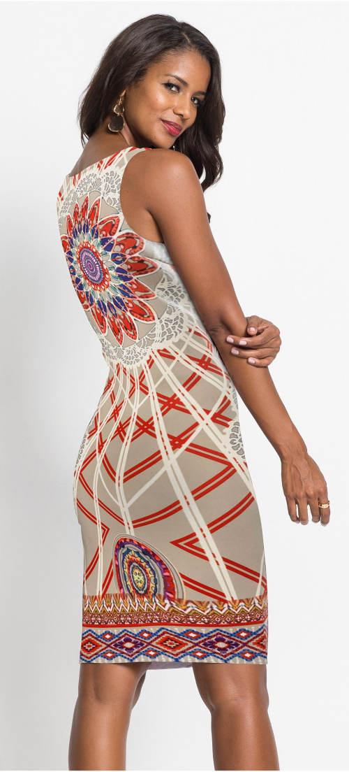 Pestrobarevné letní šaty bez rukávů