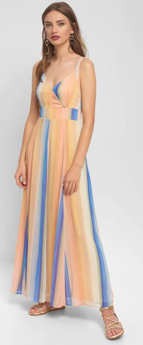 Proužkované maxi šaty bez rukávů