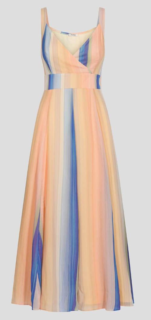 Pruhované žluto-modré dlouhé šaty
