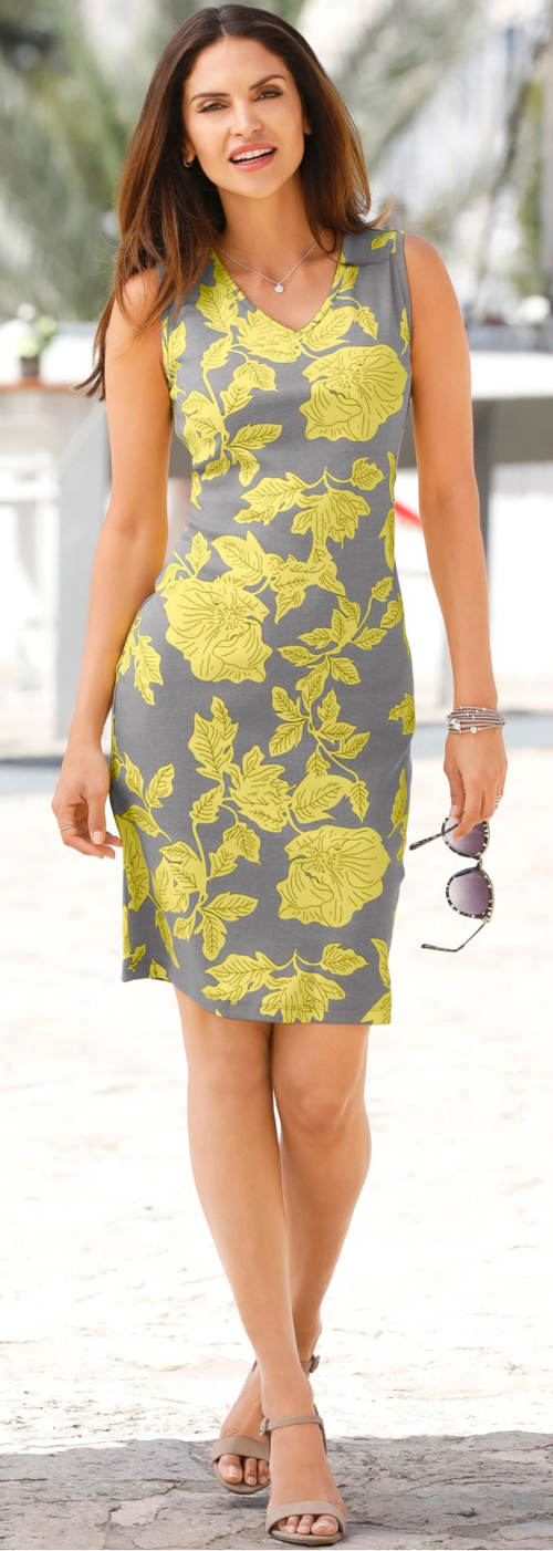 Šedo-žluté dámské šaty