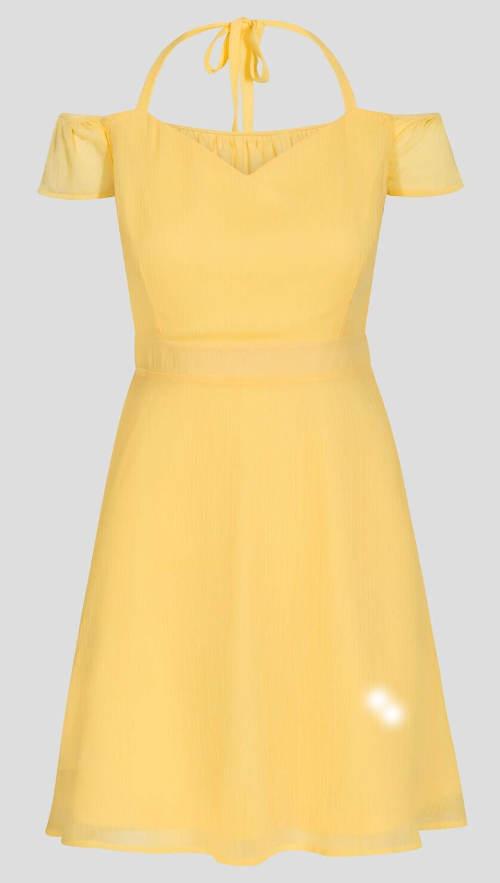 Žluté šaty se zavazovácími ramínky