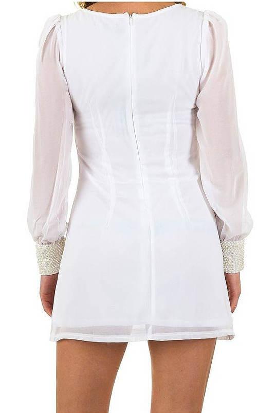 Bílé mini šaty se zipem na zádech