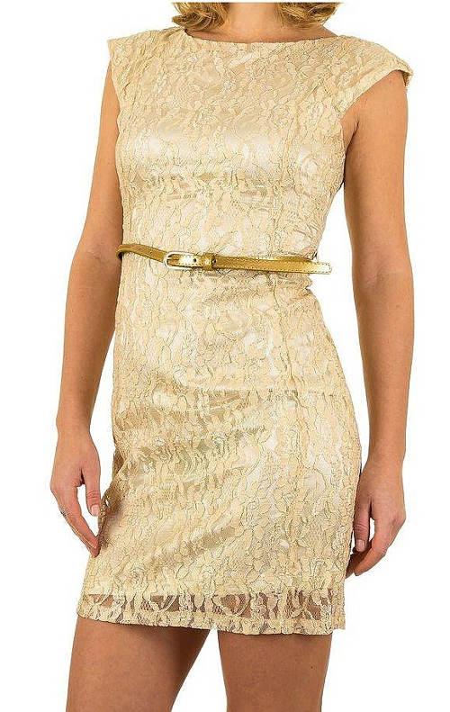 Krátké zlaté šaty s opaskem