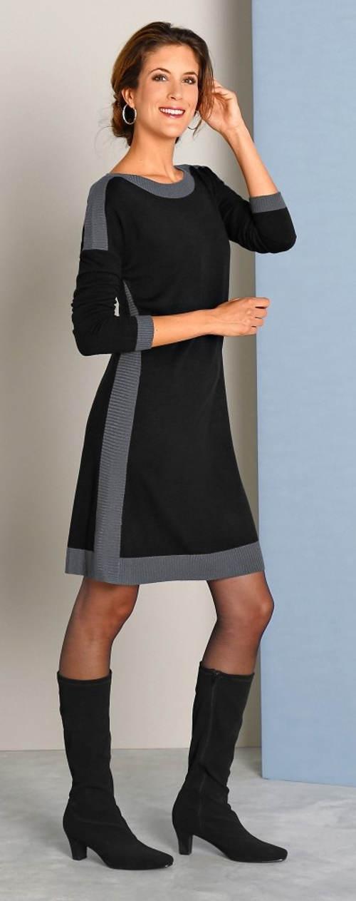 Černo šedé zimní pletené šaty