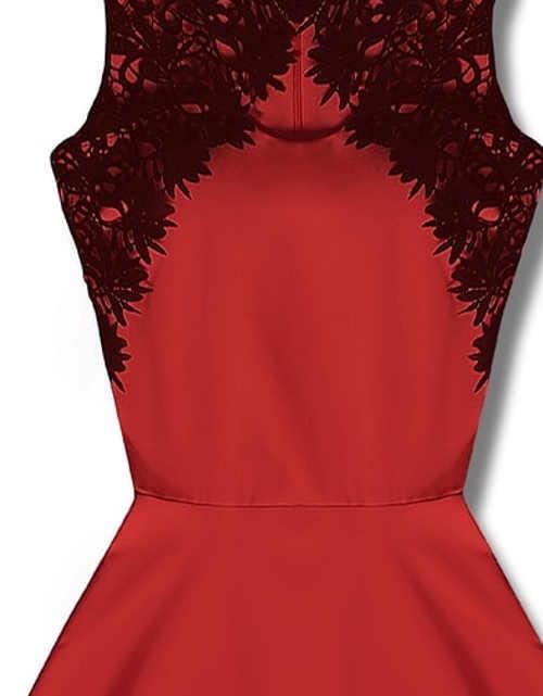 Červené krajkové šaty pro matku nevěsty