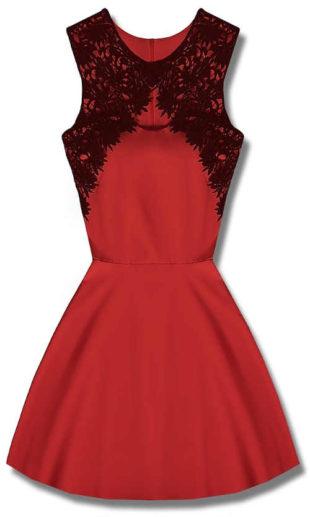 Červené společenské šaty s černou krajkou