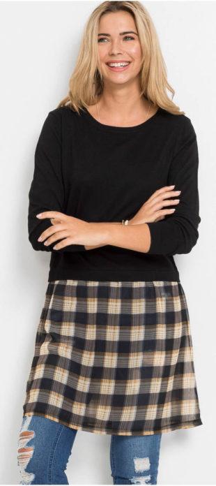 Dámské šaty přes džíny s kostkovanou sukní
