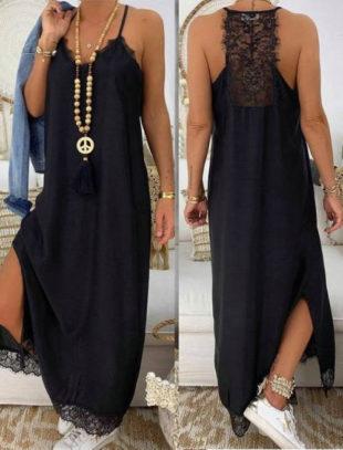 Dlouhé černé dámské šaty s krajkovou aplikací na zádech