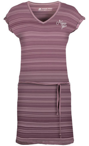 Fialové pruhované dámské šaty Alpine Pro